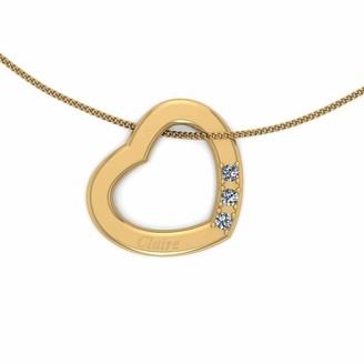Love Diamond Personalised 9ct Gold Diamond Set 3 Stone Cut-Out Heart Pendant Necklace