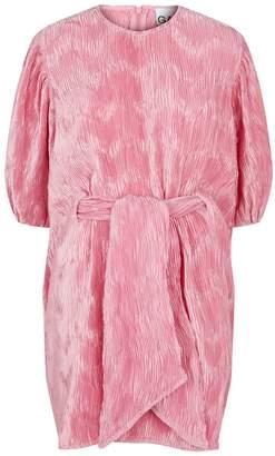 Ganni Pleated Satin Midi Dress