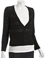 black wool chain link 'Clodie' v-neck cardigan