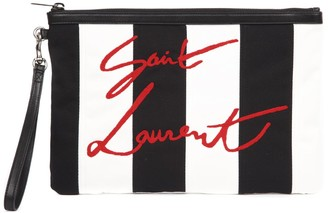 Saint Laurent Black And White Striped Pouch With Embroidered Logo
