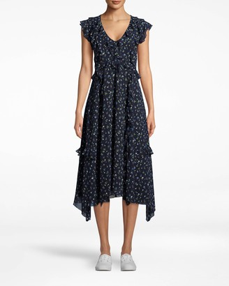 Nicole Miller Ditsy Floral V-neck Ruffle Dress