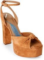 Brian Atwood Camel Gabby Platform Block Heel Sandals