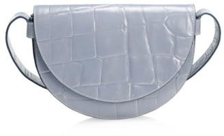 STAUD Amal Croc-Embossed Leather Shoulder Bag