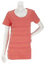 As Is Liz Claiborne New York Short Sleeve Striped Lace Knit Tunic
