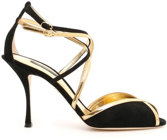 Dolce & Gabbana Suede And Gold Leather Keira Sandals