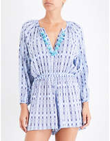 Seafolly Tassel-detail patterned poplin playsuit