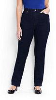 Lands' End Women's Plus Size High Rise Straight Leg Jeans-Dark Indigo Wash