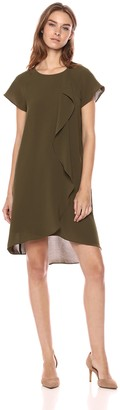 Adrianna Papell Women's Gauzy Crepe Corkscrew Drape Dress