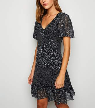 New Look Cameo Rose Ditsy Floral Spot Frill Dress