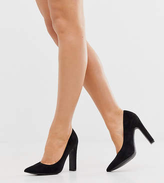 New Look Wide Fit faux suede pointed heeled shoes in black