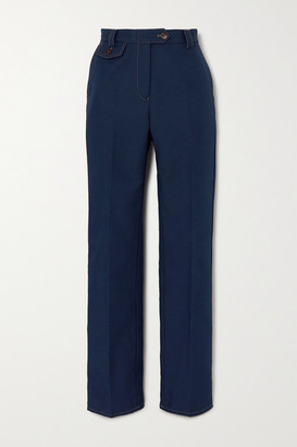 Wales Bonner Isaacs Topstitched Twill Straight-leg Pants - Navy