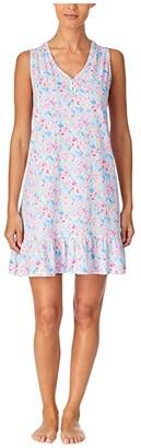 Lauren Ralph Lauren Classic Knits Sleeveless V-Neck Smocked Gown (Multi Floral) Women's Pajama