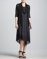 Eileen Fisher Asymmetric Sheer-Hem Dress, Petite