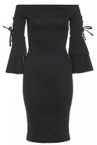 Quiz Black Lace Up Frill Sleeve Bardot Midi Dress