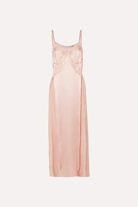 Stella McCartney Lace-trimmed Silk-satin Midi Dress - Blush