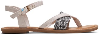 Toms Natural Shimmer Canvas Mini Leopard Print Women's Lexie Sandals