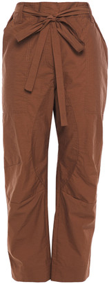 Brunello Cucinelli Cropped Belted Crushed Cotton-blend Straight-leg Pants