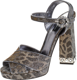 Dolce & Gabbana Silver/Gold Glitter Fabric Brooch Buckle Ankle Strap Block Heel Sandals Size 40