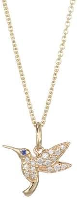 Sydney Evan 14K Yellow Gold, Diamond & Sapphire Hummingbird Necklace