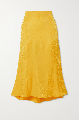 The Line By K Grace Crinkled-satin Midi Skirt - Yellow