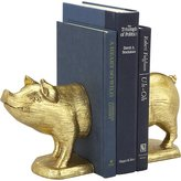 CB2 Set Of 2 Gold Pig Bookends