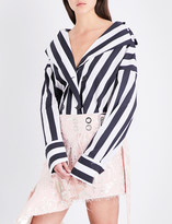 Marques Almeida Striped double-breasted cotton-poplin trench jacket