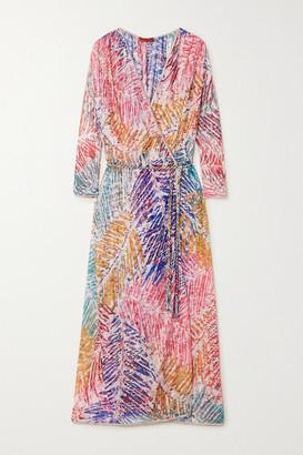 Missoni Printed Crochet-knit Robe - Pink