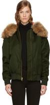 Mr & Mrs Italy Green Hooded New York Bomber Jacket