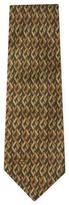 Chanel Vintage Green Geometric Silk Tie