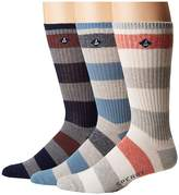 Sperry Casual Rib Crews 3-Pack Men's Crew Cut Socks Shoes