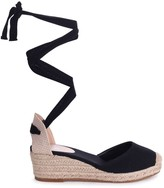 Linzi MELROSE - All Black Canvas Closed Toe Espadrille Low Wedge With Tie Up Straps