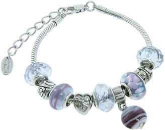 Swarovski Golden Moon Women's Bracelets Purple - Purple Moon Charm Link Bracelet With Crystals