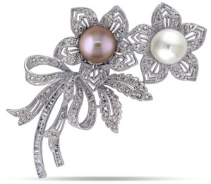 Macy's South Sea, Pink Cultured Freshwater Pearl and Brown and White Diamond (2 ct.t.w.) Floral Bouquet Brooch in 18k White Gold