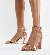 Barely There Asos Design ASOS DESIGN Hong Kong block heeled sandals in rose gold
