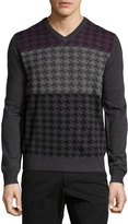 Neiman Marcus Houndstooth V-Neck Sweater, Shadow