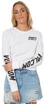 Volcom New Women's Simply Stoned Ls Tee Crew Neck Long Sleeve Cotton White