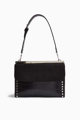 Topshop Womens Retro Black Studded Shoulder Bag - Black