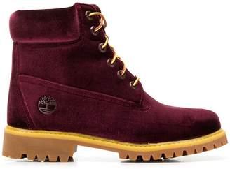 Off-White Off White x timberland velvet boots bordeaux