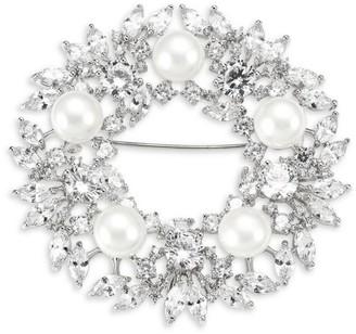 Fallon Crystal & Faux Pearl Wreath Brooch