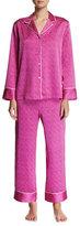 Natori Labrinth Satin Pajama Set, Purple Pattern