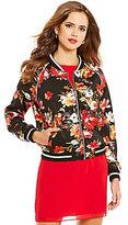 Gianni Bini Shannon Crew Neck Zip Front Floral Bomber Jacket