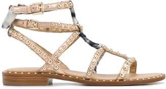 Ash wrap detail studded metallic leather sandals