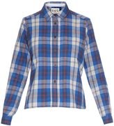 Sea Contrast-back plaid flannel shirt
