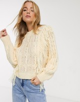Asos Design DESIGN cable sweater with fringe detail