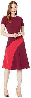 Maggy London Mystic Crepe Color Block Fit and Flare Dress (Beet/Moncheri) Women's Dress