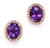 Bloomingdale's Amethyst Oval and Diamond Earrings in 14K Rose Gold - 100% Exclusive