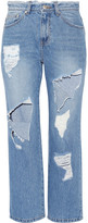 SJYP Steve J & Yoni P - Cropped Distressed High-rise Straight-leg Jeans - Mid denim