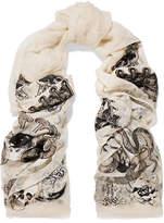 Alexander McQueen Witchcraft Fil Coupé Silk-blend Chiffon Scarf - Ivory