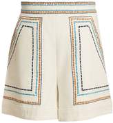 TALITHA Embroidered high-rise cotton-twill shorts