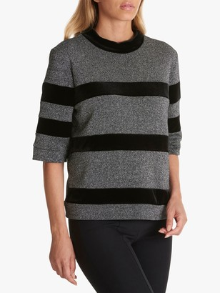 Betty Barclay Metallic Large Stripe Top, Silver/Black